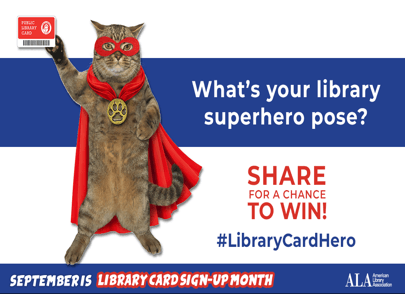 Cat in Superhero Costume with Library Card