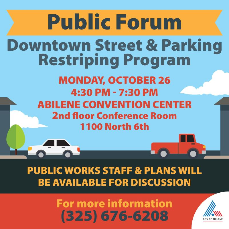 Public Forum for Downtown Parking Mon Oct 26 at 4:30pm