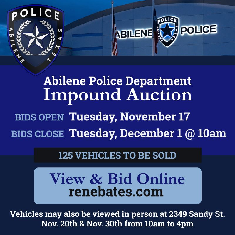 APD Impound Auction Nov 17 to Dec 1 at renebates.com