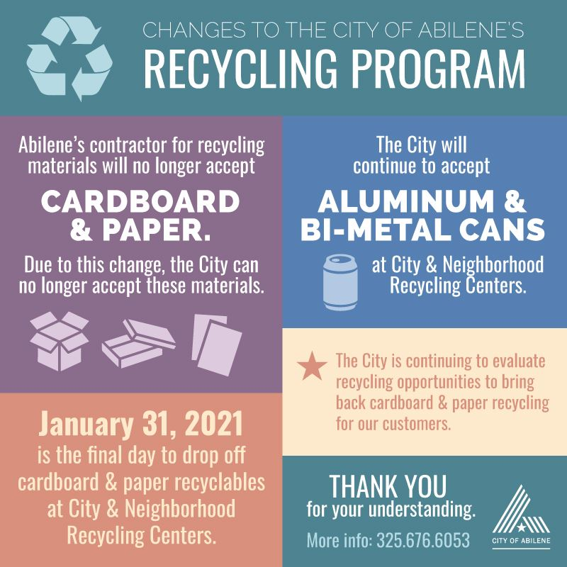 Recycling Changes - Cardboard & Paper no longer accepted after Jan 31, 2021