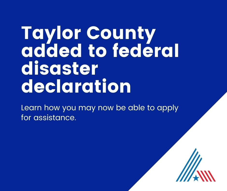 TAylor county added to disaster declaration
