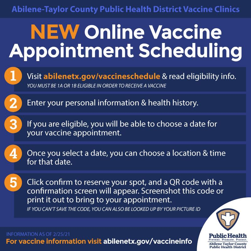 Directions on how to self schedule for a covid vaccine appointment at abilenetx.gov/vaccineschedule