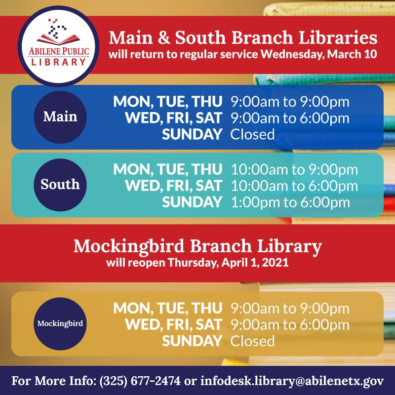 Abilene public libraries return to regular hours March 10, Mockingbird library reopens April 1
