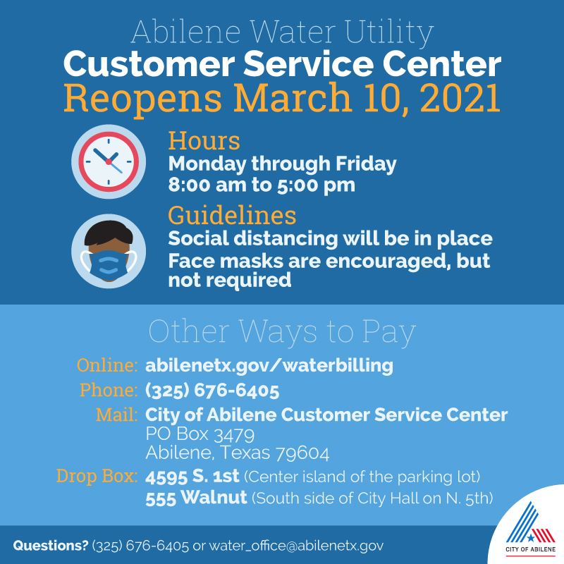Water Utility Customer Service office will reopen to the public on Wednesday, March 10