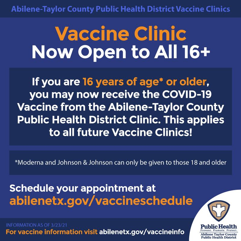 COVID 19 vaccine at Health District now open to anyone age 16 and older
