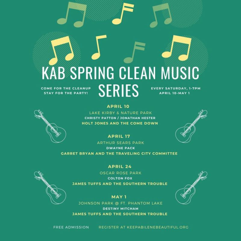 Keep Abilene Beautiful Clean Music Series beginning April 10