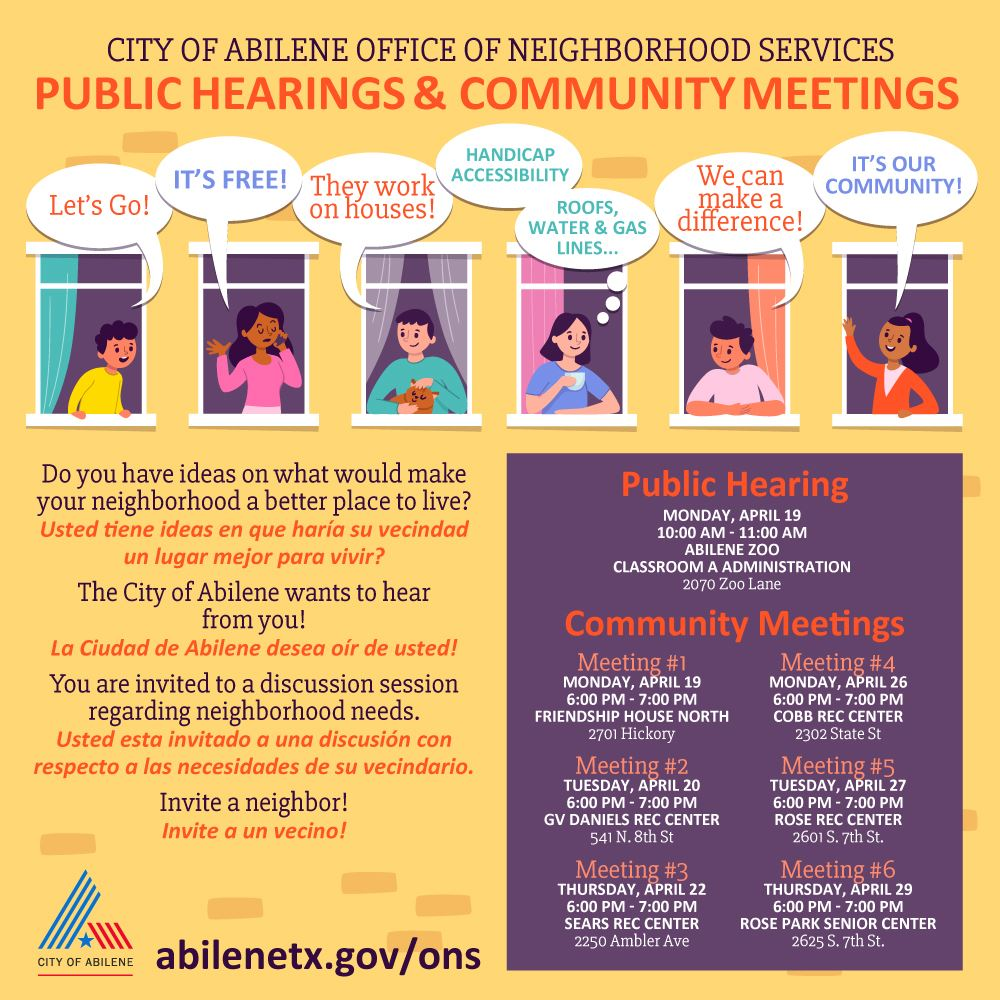 office of neighborhood services will hold community meetings to gather public input