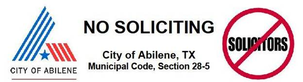 No Soliciting in the City of Abilene Banner