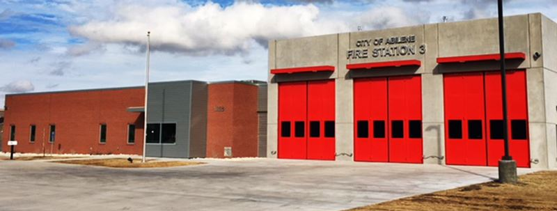 Abilene Fire Station 3, Concrete and Brick with Red Doors
