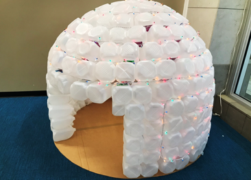 Winter Prop of Kid-Sized Igloo from Milk Jugs