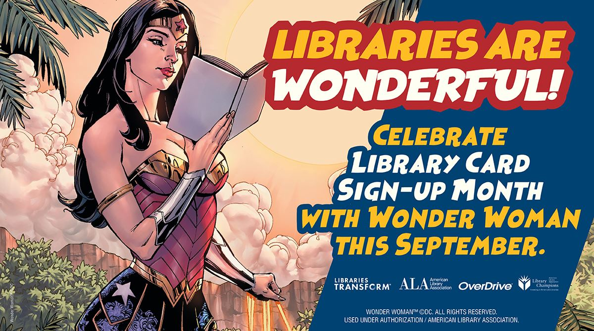Wonder Woman Reading a Book Promotional Graphic