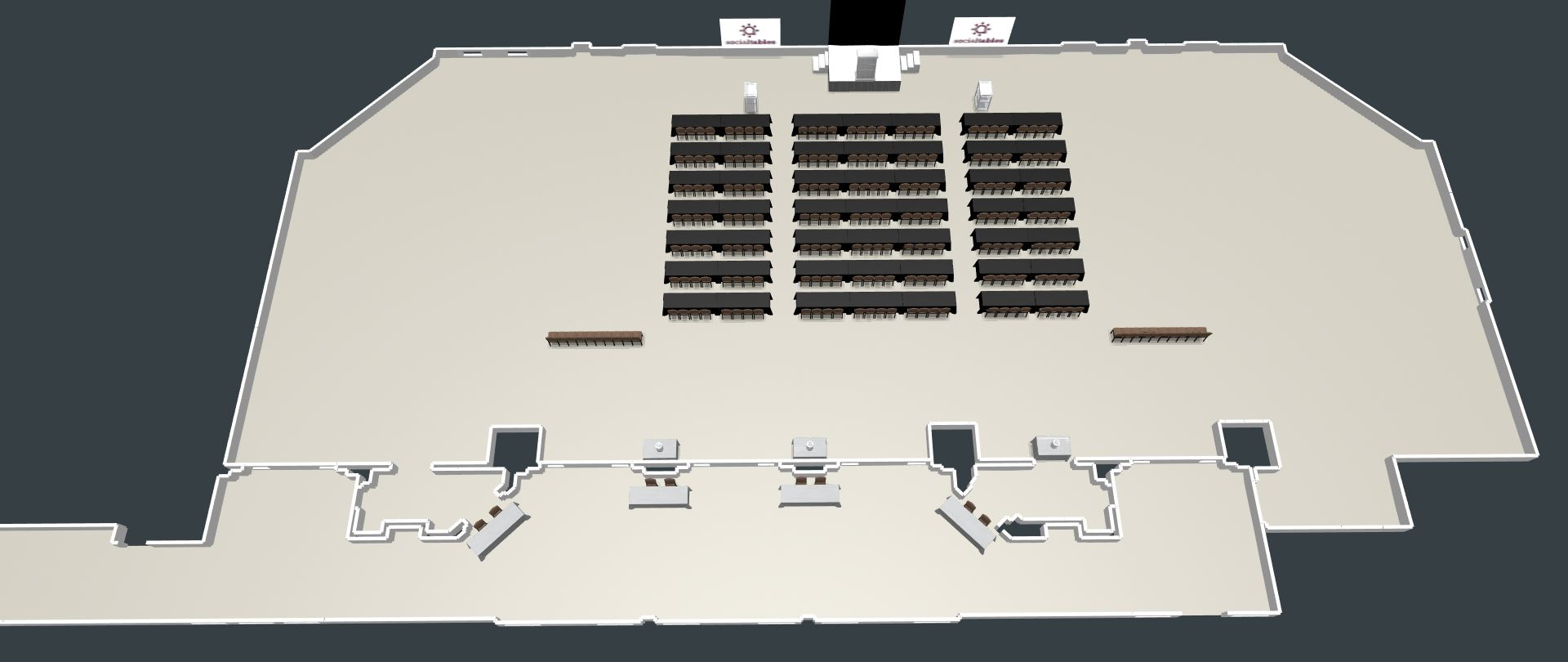 3D View of the Conference Center setup in Classroom style