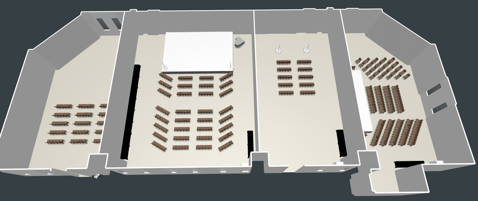 3D View of the Conference Center divided into 4 rooms