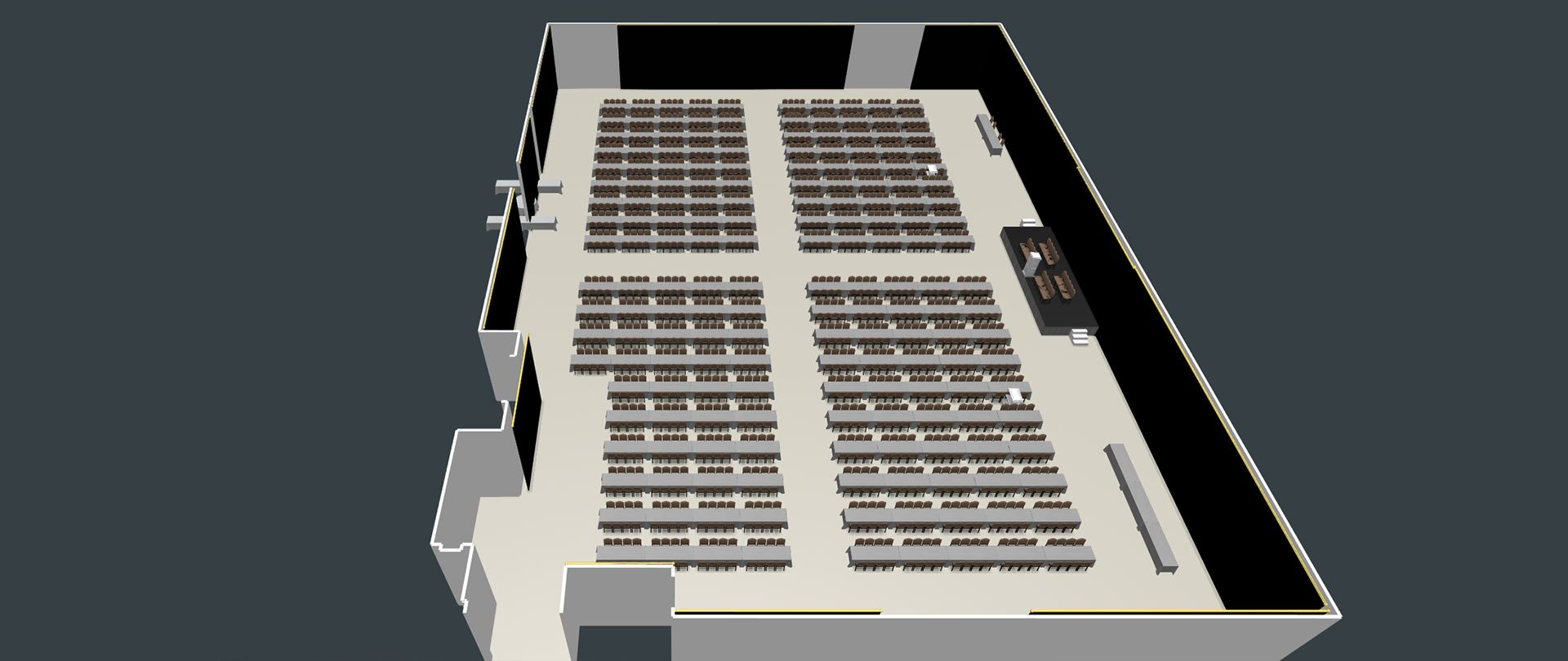 3D View of the Exhibit Hall with Family Style Banquet Seating