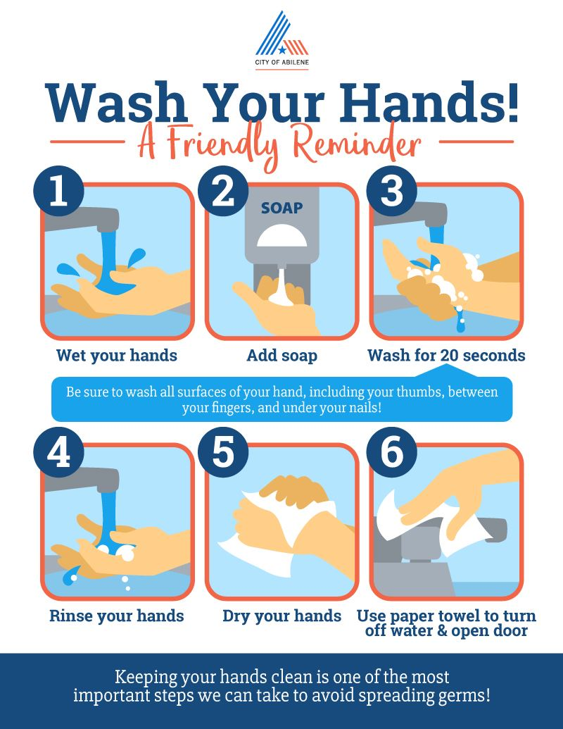 Wash Your Hands! Be sure to wash with soap and water for at least 20 seconds